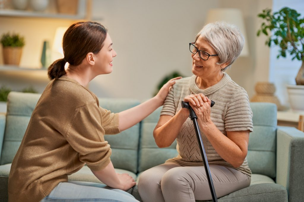 Elderly patient and caregiver in King of Prussia, PA